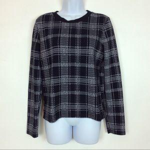 Zara Thin Knit Black White Plaid Sweater Med 28